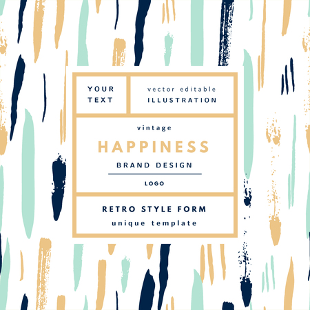Happiness gold Mint Vintage modern logo in frame on hand drawn background. Retro label package template