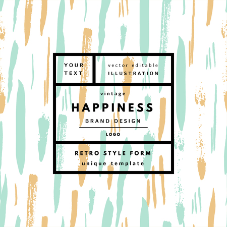 Happiness Mint Vintage modern logo in frame on hand drawn background. Retro label package template  イラスト・ベクター素材