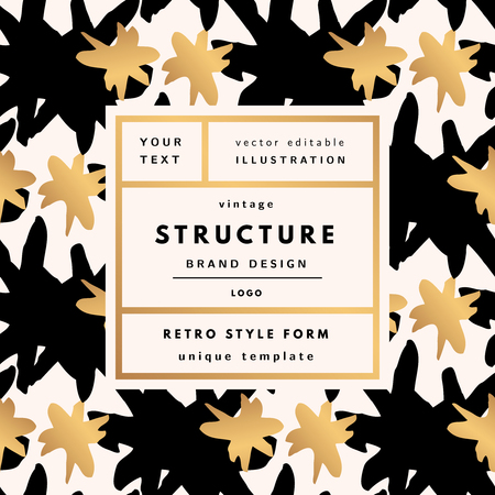 Structure Gold rich Vintage modern logo in frame on hand drawn background. Retro label package template