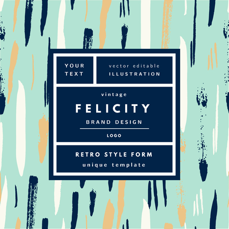 Felicity Blue Aqua Gold Vintage modern logo in frame on hand drawn background. Retro label package template  イラスト・ベクター素材