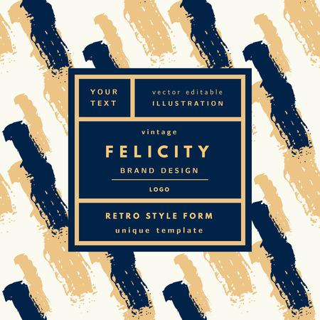 objetos cuadrados: logotipo de la vendimia Felicity oro de lujo en marco en el fondo dibujado a mano. la etiqueta retro plantilla de paquete