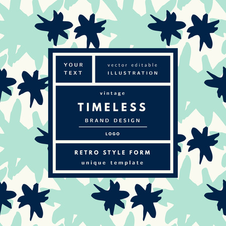 timeless: Timeless mint Blue Vintage modern logo in frame on hand drawn background. Retro label package template