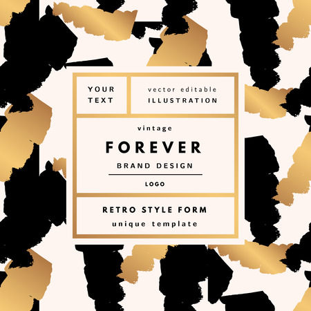 Forever Luxury Vintage modern logo in frame on hand drawn background. Retro label package template  イラスト・ベクター素材