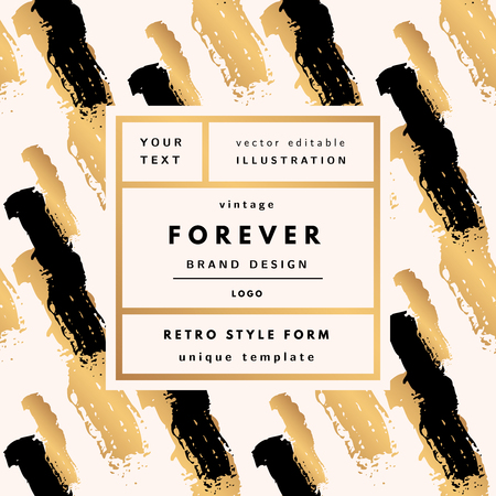 Forever Gold and black Vintage modern logo in frame on hand drawn background. Retro label package template Иллюстрация