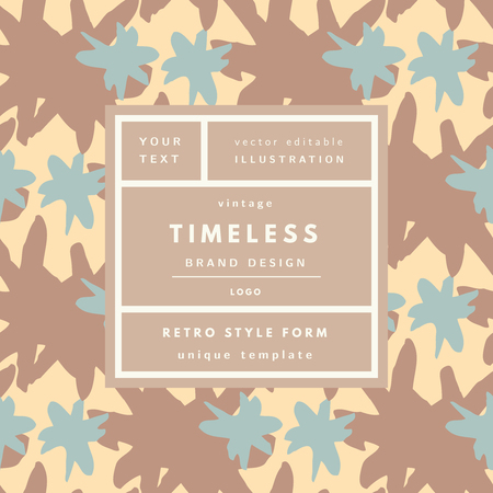 timeless: Brown coffee Timeless Vintage modern logo in frame on hand drawn background. Retro label package template