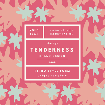 tenderness: Tenderness pink cherry Vintage modern logo in frame on hand drawn background. Retro label package template Illustration