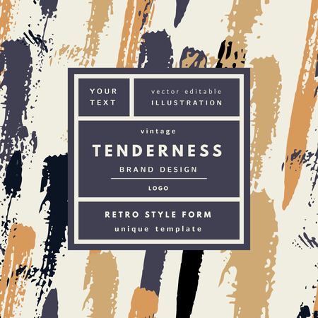 Tenderness rich gold Vintage modern logo in frame on hand drawn background. Retro label package template