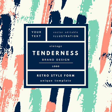 Tenderness mint peach Vintage modern logo in frame on hand drawn background. Retro label package template