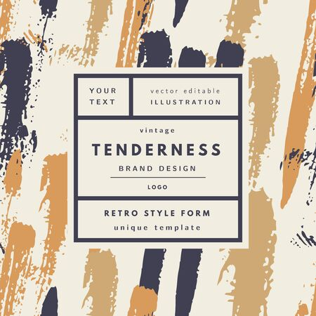 Tenderness luxury pastel Vintage modern logo in frame on hand drawn background. Retro label package template
