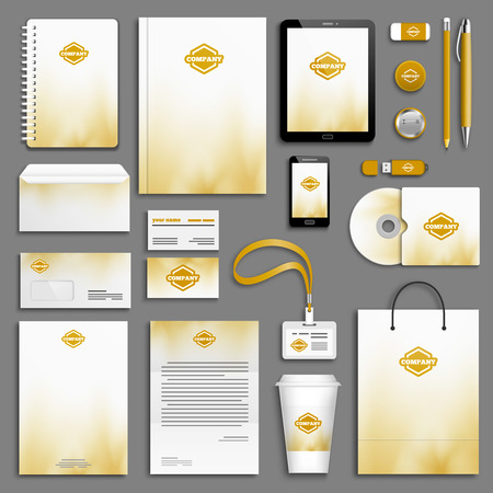 stationery: Autumn gold yellow Corporate identity template set. Business stationery mock-up with logo. Branding design. Illustration