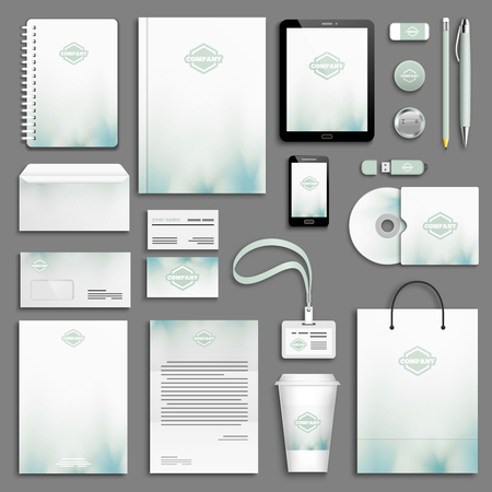 stationery: Aqua green Corporate identity template set. Business stationery mock-up with logo. Branding design.