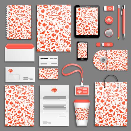 corporative: Love Valentine Corporate identity template set. Business stationery mock-up with logo. Branding design.
