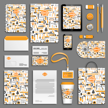 stationery: Work tools Corporate identity template set. Business stationery mock-up with logo. Branding design. Illustration