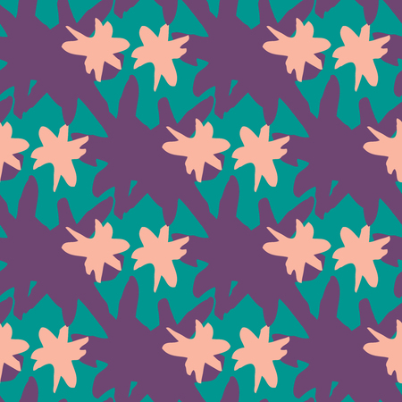 wickerwork: Hipster seamless pattern with thick brush purple pink star strokes. Geometric texture. Abstract background. Illustration