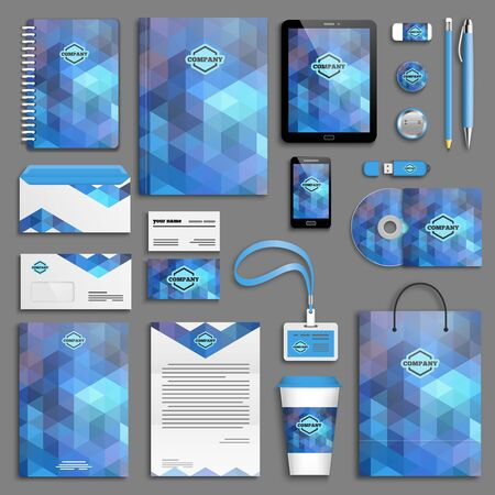 Blue aqua corporate identity template set. Business stationery mock-up with logo. Branding design.