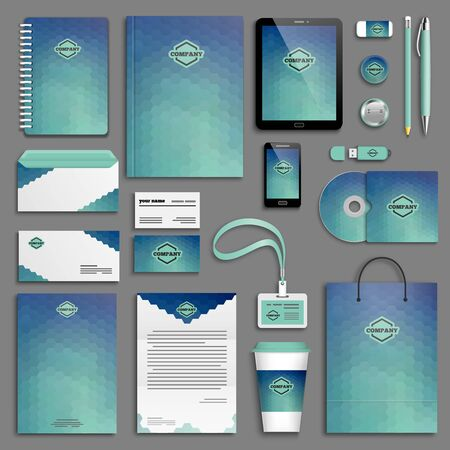 Blue aqua green corporate identity template set. Business stationery mock-up with logo. Branding design.