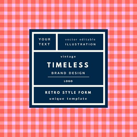 Timeless checkered red Vintage modern logo in frame on hand drawn background. Retro label package template Çizim