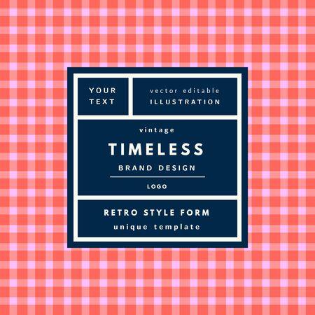 Timeless geblokte rode Vintage moderne logo in frame op de hand getekende achtergrond. Retro-label pakket template