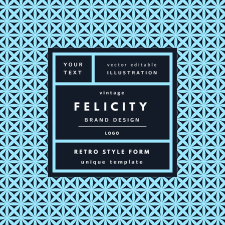 felicity: Felicity blue Vintage modern logo in frame on hand drawn background. Retro label package template Illustration