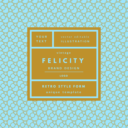 Felicity blue Vintage modern logo in frame outline geometric background. Retro label package template