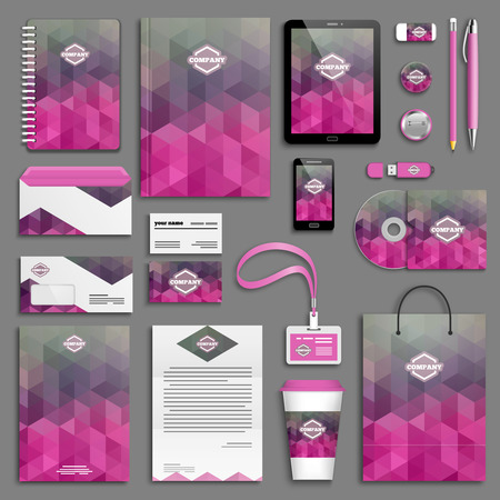 Pink corporate identity template set. Business stationery mock-up with logo. Branding design.