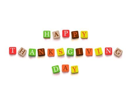 happy family isolated: Words Happy Thanksgiving Day with colorful blocks isolated on a white background Description with bright cubes Vector illustration EPS 10 card congratulation banner