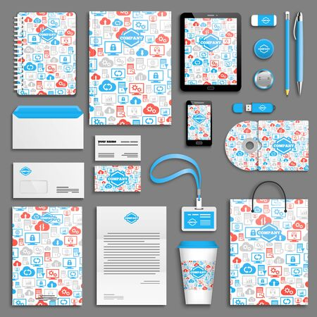 corporative: Blue, red hosting corporate identity template set. Business stationery mock-up with logo. Branding design.