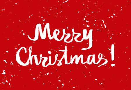 estaciones del a�o: Rojo tarjeta de saludo de la Navidad con las letras de la tipograf�a dibujada a mano. banner de vacaciones. Cartel de la vendimia con la nieve de oro. Feliz Navidad
