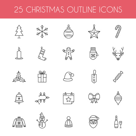 Christmas outline icons. Holiday New Year icons. Illustration