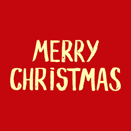 Red Greeting Christmas card with hand-drawn typography lettering. Holiday banner. Vintage poster. Merry Christmas Banco de Imagens - 48414774