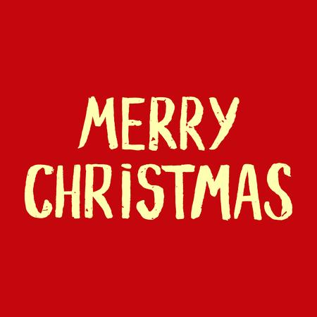 Rode Groet kerstkaart met de hand getekende typografie belettering. Vakantie banner. Vintage poster. vrolijk kerstfeest