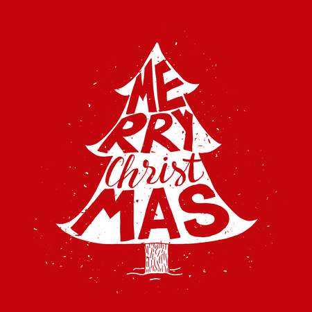 merry christmas: Christmas tree greeting card with Merry Christmas typography. Holiday . Vintage poster. Illustration