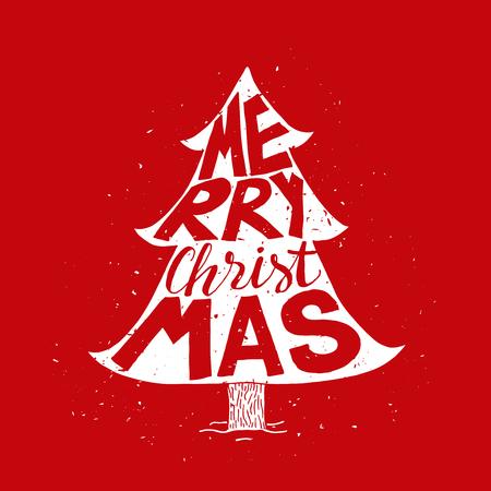 Kerstboom wenskaart met Vrolijk kerstfeest typografie. Holiday. Vintage poster.
