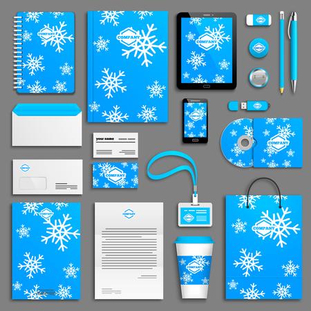 branding: Christmas corporate identity template set. Business stationery mock-up. Branding design.