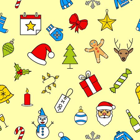 desktop wallpaper: Christmas seamless patterns made with outline icons in flat style. Abstract backgrounds. Backdrop mobile smart phone tablet desktop wallpaper banner web design element scrap booking textile