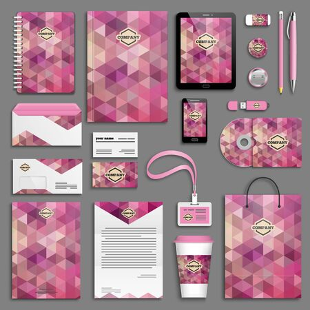 branding: Pink corporate identity template set. Business stationery mock-up. Branding design. Illustration