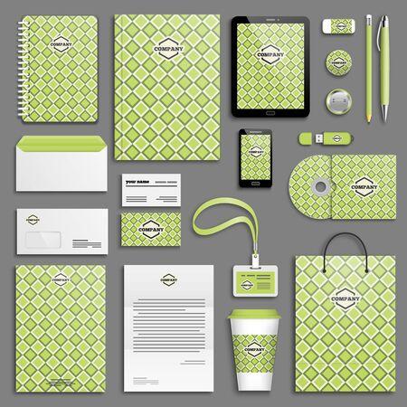 branding: Green corporate identity template set. Business stationery mock-up. Branding design.
