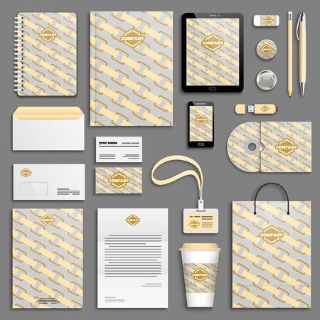 branding: Peach corporate identity template set. Business stationery mock-up. Branding design. Illustration