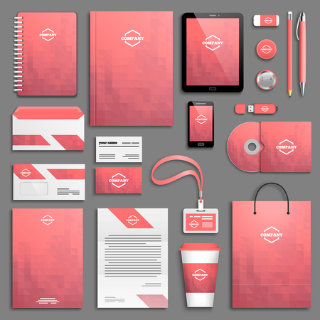 corporate brochure: Pink Corporate identity template set. Business stationery mock-up. Branding design. Illustration