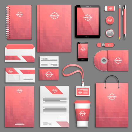 personalausweis: Rosa Corporate-Identity-Vorlage festgelegt. Geschäftsdrucksachen Mock-up. Branding-Design.