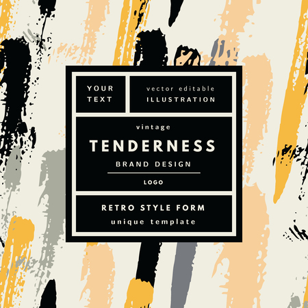 tenderness: Tenderness gold Vintage modern in frame outline geometric background. Retro label package template Illustration