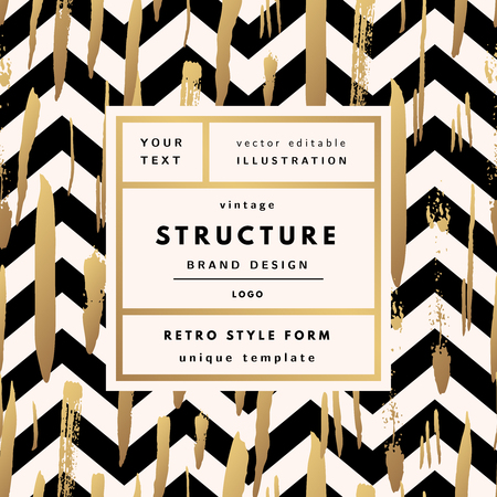 Structure gold Vintage modern in frame outline geometric background. Retro label package template Illustration