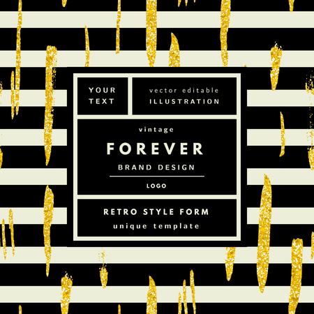 Forever gold glitter Vintage modern in frame outline geometric background. Retro label package template
