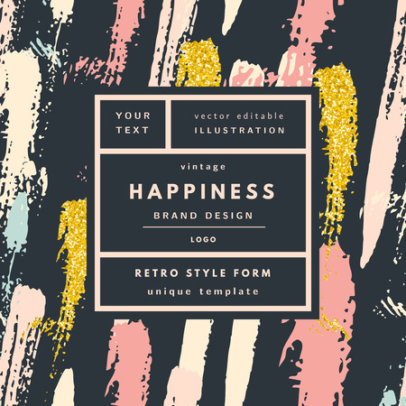 Happiness gold glitter Vintage modern in frame outline geometric background. Retro label package template