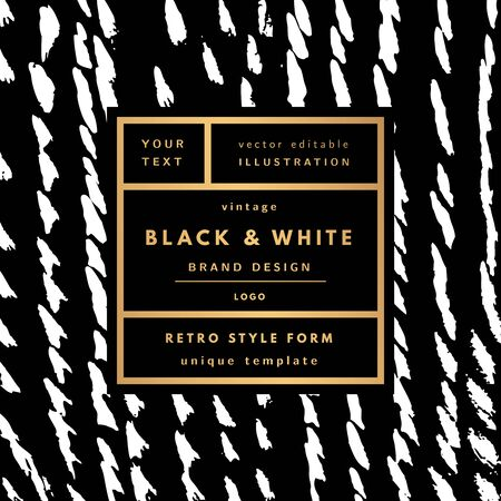 Black and white gold Vintage modern in frame outline geometric background. Retro label package template
