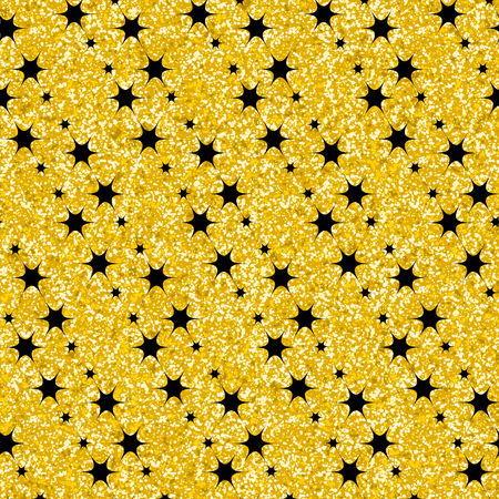 scrap gold: Gold glitter stars Geometric texture. Abstract background. Shiny trend shimmering layout. Trendy sparkling print backdrop wallpaper banner web design element scrap booking paper textile Illustration