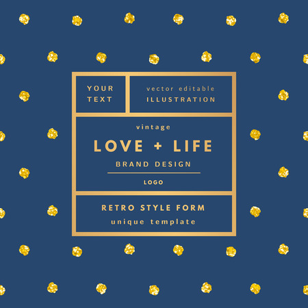 love gold: Blue Love and life gold dots glitter Vintage modern in frame outline geometric background. Retro label package template. Trend layout, art print