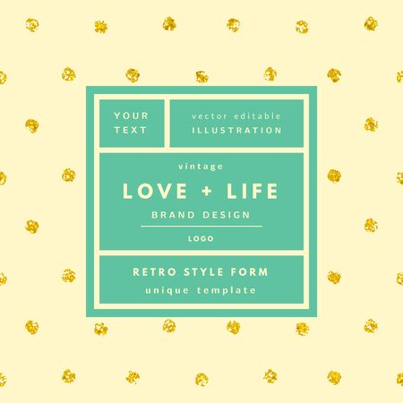Ivory Love and life gold dots glitter Vintage modern in frame outline geometric background. Retro label package template. Trend layout, art print Illustration