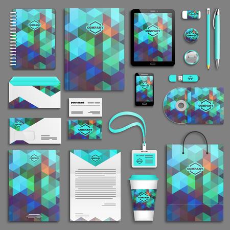 personalausweis: Aqua grün Corporate-Identity-Vorlage festgelegt. Geschäftsdrucksachen Mock-up. Branding-Design.