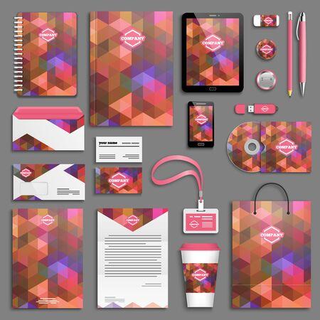 Set modello di identità aziendale rosso arancione. Modello di cancelleria aziendale. Design del marchio.